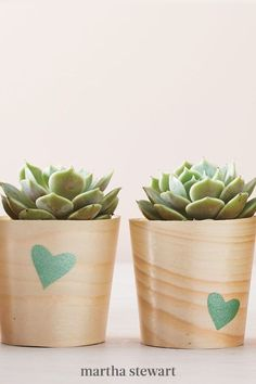 This gift is perfect for the classroom or a teacher's home. To create, first cut a heart shape out of the stencil film, then stick the film on an inexpensive wooden cup. Dab the paint on the stencil, then peel the film off. Make as many as you need, then transfer a small plant into each cup. We used succulents, but just about anything will work. #marthastewart #diydecor #diyprojects #diyideas #handmadegiftideas