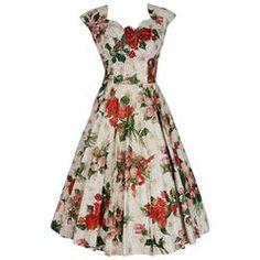 1950's Metallic Rose-Garden Floral Print Beaded Sequin Cotton Full-Skirt Dress