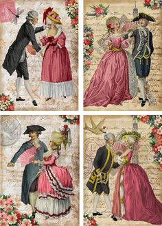 Vintage Valentine Marie Antoinette Couples Cards Tags ATC Altered Art Set 8 | eBay