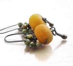 Yellow Grey Earrings - Golden Earrings - Fire Agates - Sterling Silver