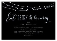 Holiday Party Invitations for black tie corporate event.  Black Tie Holiday Party invitations. illustrated with silver metallic ink!  Printed on 100% recycled.