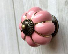 Rosa Schrank Knöpfe Kürbis Knöpfe Küche Dresser Knob Schublade Knöpfe zieht Griffe Keramik Porzellan / Antique Bronze dekorative Hardware