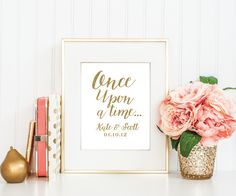 Wedding Art-8x10-11x14-Wedding Printable-Digital File-Important Dates-Wedding Gift-Anniversary Gift-Once Upon a Time Print by MElizondoDesigns on Etsy