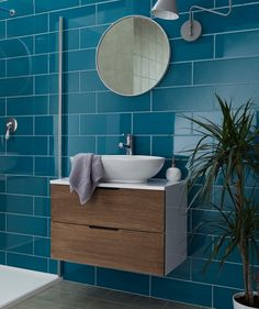 Shop our wide range of Blue tiles perfect for your bathroom, wet room or shower. Tiles to suit any taste, and transform any home. Teal Bathroom, Blue Tile Floor, Blue Tile Wall, Bathroom Shower Tile, Ensuite Shower Room, Small Bathroom, Small Shower Room, Blue Bathroom Vanity, Large Tile Bathroom