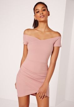 Wrap Bardot Bodycon Dress Pink