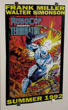 Original 1992 Robocop vs Terminator 34 1/2 by 21 3/4 inch Dark Horse Comics comic book promotional promo poster 1:Frank Miller/Walt Simonson
