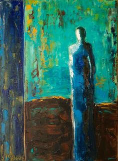 """""""The Blues"""" by Shelby McQuilkin blue, abstract figurative, contemporary figurative, oil painting,"""