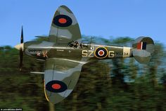Low flying: Mk IX Spitfire repainted in the colour's of the Polish squadron of the RAF which was amongst the most succesful in the war Ww2 Aircraft, Fighter Aircraft, Military Aircraft, Fighter Jets, Aircraft Images, Military Jets, The Spitfires, Supermarine Spitfire, Ww2 Planes