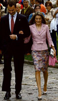 Don Felipe, Prince of Asturias and Doña Letizia  Princess Letizia, Princess of Asturias attend 'Principe de Viana' 2008 awards at San Salvador de Leyre Monastery on 6 June 2008 in Navarra Spain
