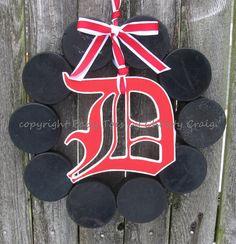 The Original Detroit Red Wings Hockey Wreath by BabyToesbyChristy, $49.00
