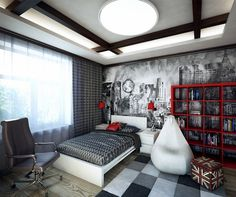 wall design bedroom furniture for young red black and white wallpaper