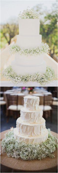 Rustic baby's breath wedding cakes #wedding #weddingideas #weddinginspiration #weddingcakes #deerpearlflowers