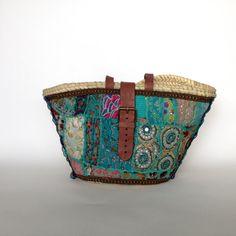 Capazo decorado con tela bordada india/ Cesto por Cuquimilukishop