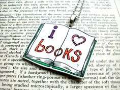 I Love Books Necklace - Shrink Plastic - Librarian - Hand Drawn Pendant.