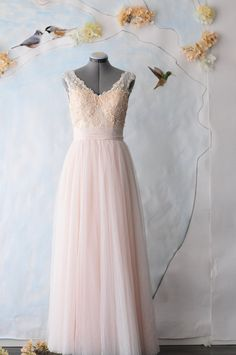 Custom Wedding Gown-Kate-V neck floral lace and cotton tulle A-line floor length-Made to order in ivory, nude and peach