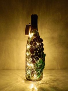 Tuscan Black and Green Grapes Lighted Wine Bottle by BoMoLuTra, $24.00