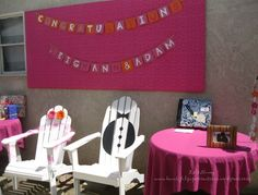 His &Hers; bridal shower. Love the chairs..too cute