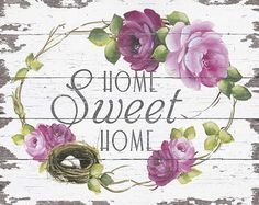 Home sweet home Decoupage Vintage, Decoupage Paper, Fabric Painting, Painting On Wood, Wood Crafts, Diy And Crafts, Mod Podge Crafts, Sweet Home, Shabby