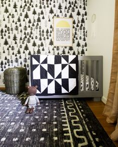 Fall in the Kids' Bedrooms Gender Neutral Nursery With Black and White Tree Wallpaper, mudcloth bookcase, mustard accents, modern quilt Baby Room Decor, Nursery Decor, Nursery Ideas, Decorating Your Home, Diy Home Decor, Interior Decorating, Pinterest Home, Nursery Neutral, Room Accessories