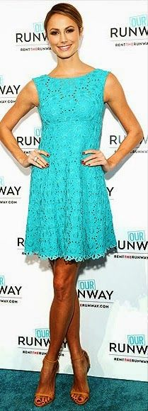 Cute teal lace dress- Nanette Lepore - and great looking legs, but what happened to her top half??