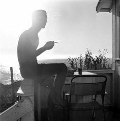Hunter S. Thompson Self Portrait, Silhouette Smoking. c. 1960s