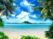 Fototapete Tapete Palmen Insel Meer Strand Poster Foto 127 x 180 cm
