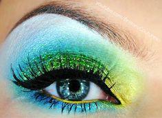 Green, Turquoise & Yellow eye makeup