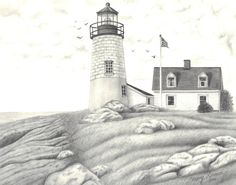 Beach lighthouse - pencil drawing Beach Drawing, Painting & Drawing, Pencil Art Drawings, Easy Drawings, Lighthouse Drawing, Learn To Sketch, Building Drawing, Adult Coloring Pages, Colored Pencils