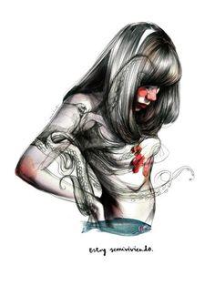 Comprar print Paula Bonet - Semiviviendo pulpo desnudo ilustración lámina