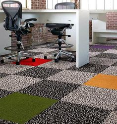 Not only do these contemporary carpet tiles look great, they perform a higher function – they're so practical! This decorative floor carpet tile by Carpet Tiles For Basement, Floor Carpet Tiles, Carpet Flooring, Basement Stairs, Kitchen Carpet, Wall Carpet, Basement Ideas, Carpet Design, Floor Design