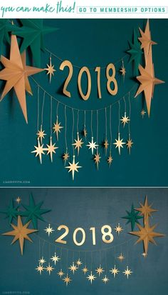 An Easy DIY New Year's Eve Garland for a Glamorous Party! - Lia Griffith - www. - The Home Decor Trends New Years Decorations, Diy Party Decorations, Paper Decorations, Christmas Decorations, Christmas And New Year, Christmas Time, Christmas Crafts, Deco Nouvel An, Silvester Diy