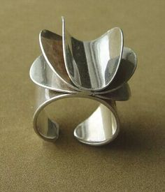 """The Idea of Jewellery as Giving Meaning"" Tone Vigeland Ring - Rose Series - Vintage Norway Designs 1960's"