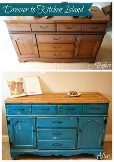 Colorful Dresser To Kitchen Island Upcylce From Dresser to Kitchen Island Tutorial # Refurbished Furniture, Repurposed Furniture, Furniture Makeover, Painted Furniture, Diy Kitchen Island, Kitchen Redo, Kitchen Remodel, Kitchen Storage, Kitchen Dining