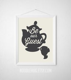 Be Our Guest Beauty and the Beast Typography Poster by noodlehug tea pot Mrs Potts Chip modern guest room dining silhouette wall tan grey black print disney wall art