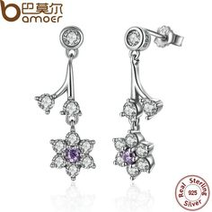 BAMOER Summer Collection 925 Sterling Silver Forget Me Not, Purple & Clear CZ Women Drop Earrings Fine Jewelry PAS470