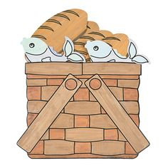 Color Your Own Loaves Fishes Basket