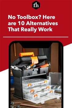 No Toolbox? Here are 10 Alternatives That Really Work Workshop Storage, Tool Storage, Storage Drawers, Pegboard Organization, Organizing, Truck Tool Box, Tool Tote, Milwaukee Tools, Staying Organized