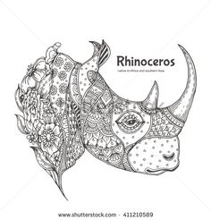 Rhinoceros. Hand-drawn Rhino with ethnic floral doodle pattern. Coloring book page - zendala, design for meditation for adults, vector illustration, isolated on a white background. Zen doodles.