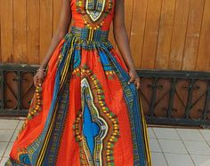 African print maxi dress with collar. We can use the fabric pictured in stock or you can choose your own print at www.etsy.com/shop/ankaraafricanfabric . Message us with questions.  Please allow 2-3 weeks for production. This item ships from Ghana, West Africa. Delivery by regular post takes 3-4 weeks or you can select express delivery by DHL which takes 3 business days once the garment is ready to ship. Please select your preferred shipping method at checkout.