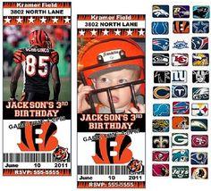NFL Football Theme Custom Designed Birthday Party by ajinvites,