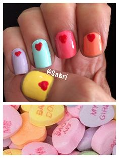 A #sweettreat for #valentinesday: #manicure inspired by #candyhearts! #nailart. #Nails #Uñas #Unghie #Ongles  #Unhas #Nailpolish #Esmalte #Smalto #Émail. #Beauty #Belleza #Bellezza #Beauté #Beleza #Cosmetics #Cosméticos #Cosmetici #fabat40.