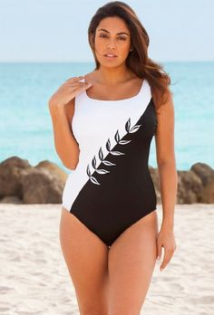 Longitude White Embroidery Plus Size Swimsuit « Clothing Adds Anytime