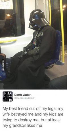 Funny -- (Spoilers) Vader looks at the silver lining on the Dark Side Little Bit, Jedi Knight, Nerd Humor, Lord, Ewok, Jokes For Kids, Star Wars Humor, Comedy Central, Marvel Memes