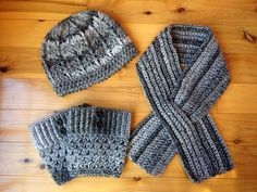 Crochet hat, scarf, and boot cuffs - matching set