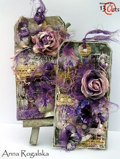 Absolutely Stunning Mixed Media Purple tags -13arts #13arts #mixedmedia Tags Handmade By Anna Rogalska And Designed For 13 Arts. ~Love~