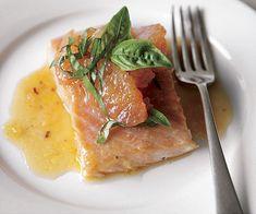 Roasted Salmon with Shallot-Grapefruit Sauce and Basil -- 4 Favorites, 1 Recipe. Yay!