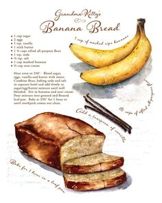 Custom recipe artwork favorite family recipe by CarynDahm on Etsy Recipe Drawing, Easy Banana Bread, Banana Bread Brownies, Homemade Banana Bread, Homemade Pancakes, Food Journal, Recipe Journal, Banana Bread Recipes, Carrot Recipes