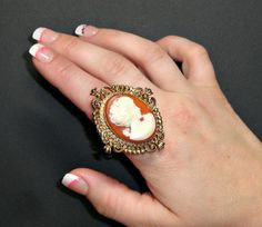 Big Ring Reclaimed Repurposed Upcycled Cameo by PoorAuntEdna, $27.50