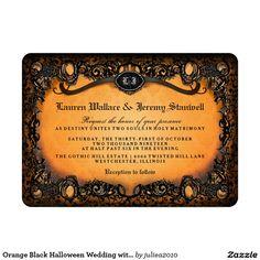 Orange Black Halloween Wedding with RECEPTION INFO Card