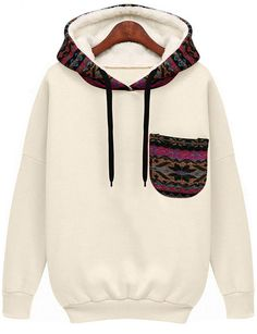 White Hooded Long Sleeve Patterned Pocket Sweatshirt, 100% Quality Guarantee